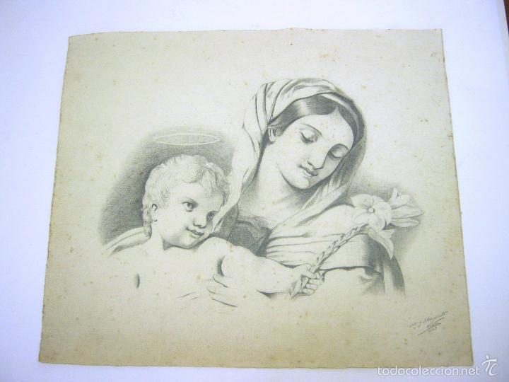 MAGNIFICO DIBUJO ANTIGUO A CARBONCILLO - VIRGEN CON NIÑO JESUS (Arte - Arte Religioso - Pintura Religiosa - Otros)