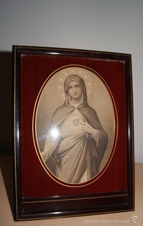 ANTIGUA IMAGEN ENMARCADA CON CRISTAL INMACULADO CORAZÓN DE MARÍA. PARIS. (Arte - Arte Religioso - Litografías)