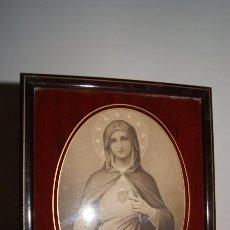 Arte: ANTIGUA IMAGEN ENMARCADA CON CRISTAL INMACULADO CORAZÓN DE MARÍA. PARIS.. Lote 56181209