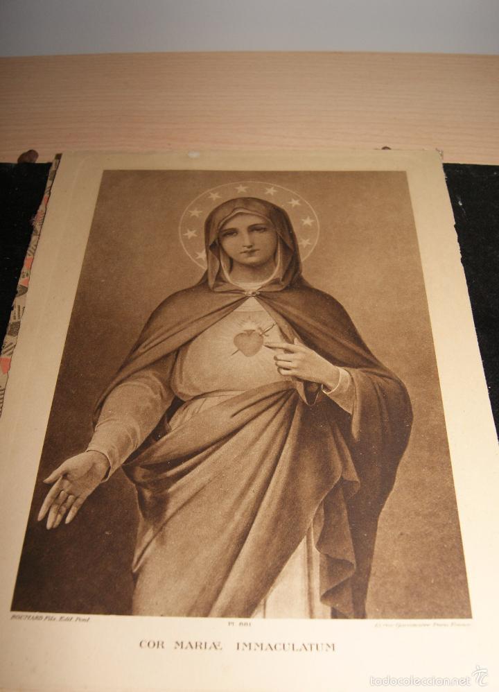 Arte: Antigua imagen enmarcada con cristal Inmaculado corazón de María. Paris. - Foto 3 - 56181209