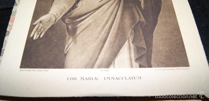 Arte: Antigua imagen enmarcada con cristal Inmaculado corazón de María. Paris. - Foto 4 - 56181209