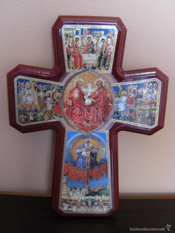 Arte: Bonito icono Cruz de la Trinidad. Lámina sobre madera - Foto 7 - 56201895
