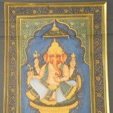 Arte: PINTURA INDIA HECHA A MANO DE GANESH, GANESHA HINDUISMO CON MARCO (29 CM X 24 CM APROX). Lote 56254088