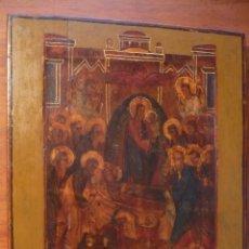 Arte: ICONO DE LA ADORMICION DE LA VIRGEN MARIA S. XIX. 30'5X35'5 CM ORIGINAL CON CERTIFICADO. Lote 56255557