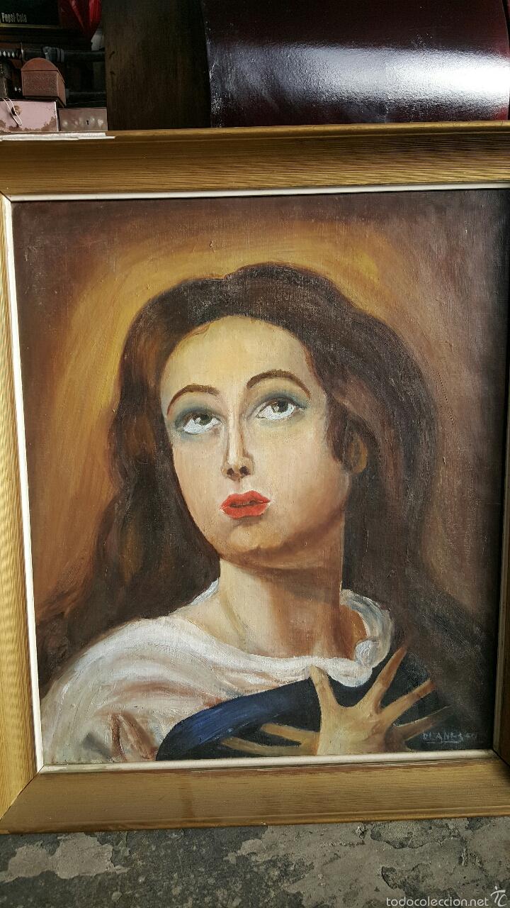 ANTIGUO OLEO SOBRE LIENZO, LA INMACULADA, VIRGEN 54X63CM (Arte - Arte Religioso - Pintura Religiosa - Oleo)