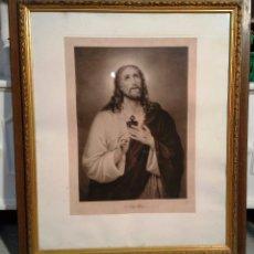Arte: ANTIGUA IMAGEN SAGRADO CORAZÓN DE JESÚS - MARCO DORADO ORIGINAL - WW. EBBINGHAUSS PINX . Lote 56285664