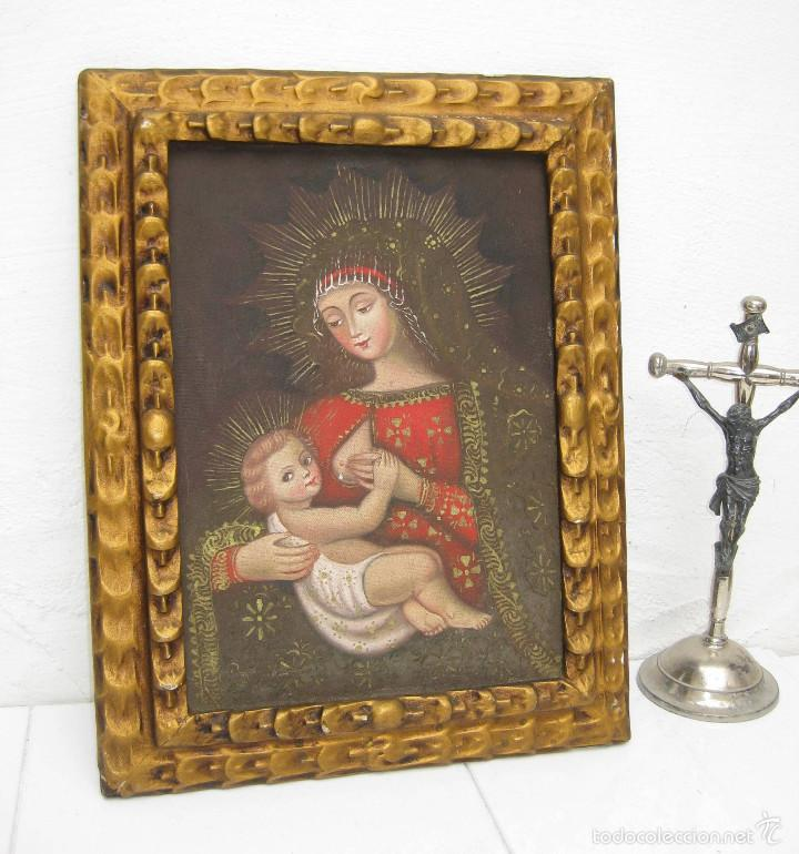 PRECIOSA PINTURA RELIGIOSA OLEO VIRGEN DE LA LECHE SOBRE LONA Y MARCO MADERA (Arte - Arte Religioso - Pintura Religiosa - Oleo)