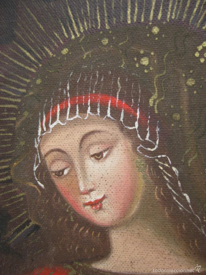 Arte: PRECIOSA PINTURA RELIGIOSA OLEO VIRGEN DE LA LECHE SOBRE LONA Y MARCO MADERA - Foto 2 - 56299165