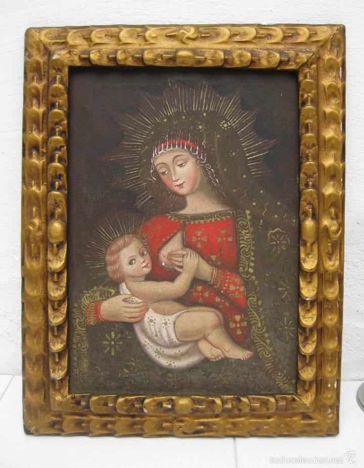 Arte: PRECIOSA PINTURA RELIGIOSA OLEO VIRGEN DE LA LECHE SOBRE LONA Y MARCO MADERA - Foto 5 - 56299165