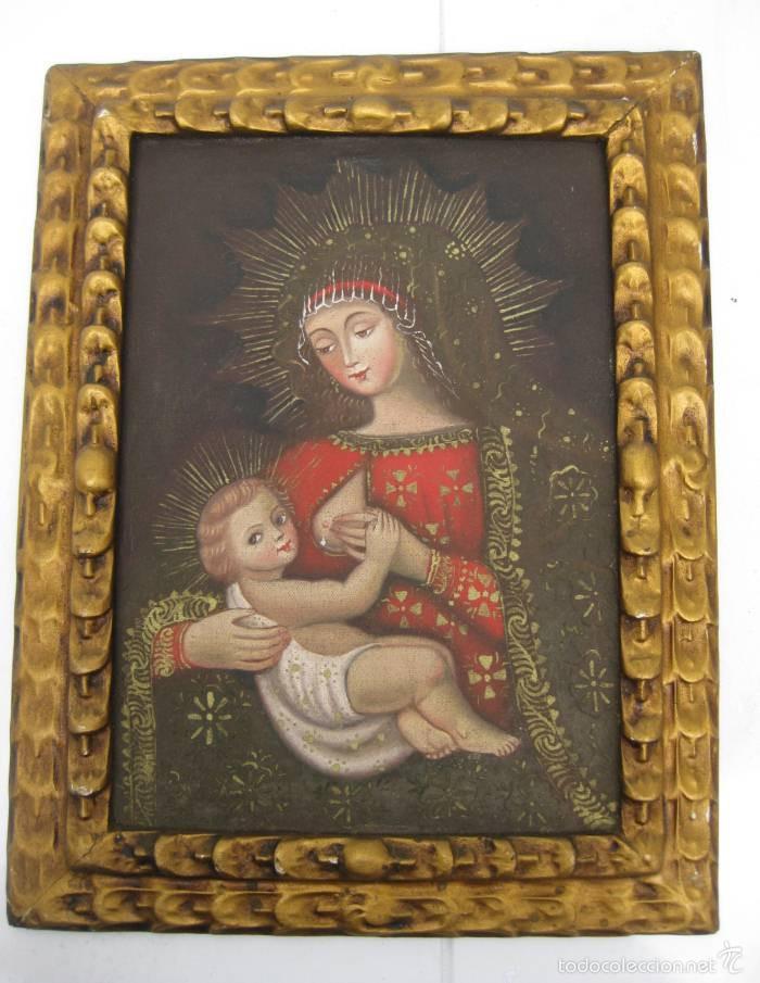 Arte: PRECIOSA PINTURA RELIGIOSA OLEO VIRGEN DE LA LECHE SOBRE LONA Y MARCO MADERA - Foto 7 - 56299165