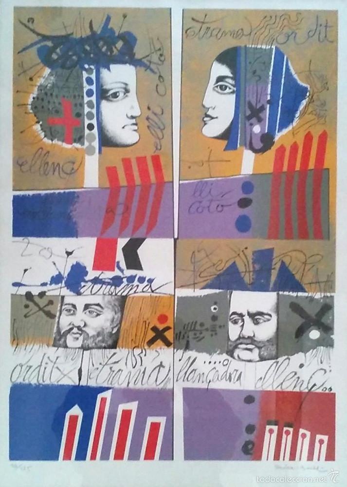 LITOGRAFIA JOSEP MARIA ROVIRA BRULL, FIRMADA A MANO. MED. 50 X 70 CM (Arte - Arte Religioso - Litografías)