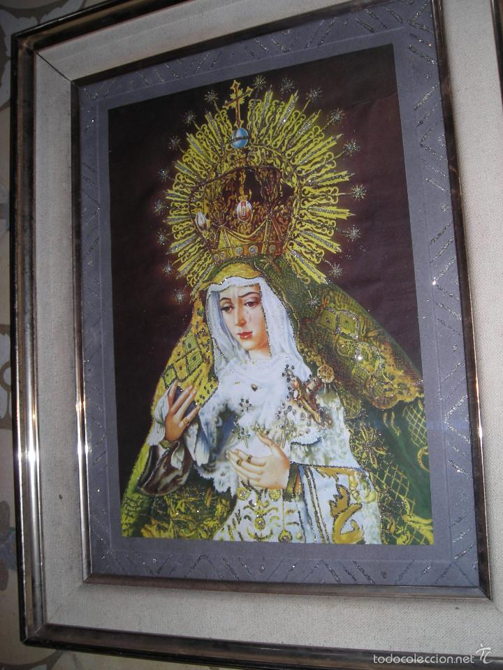CUADRO RELIGIOSO VIRGEN DE SEVILLA, CON MARCO I CRISTAL CON ADORNOS (Arte - Arte Religioso - Pintura Religiosa - Otros)