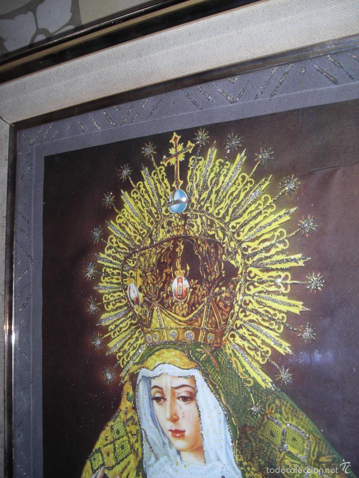 Arte: CUADRO RELIGIOSO VIRGEN DE SEVILLA, CON MARCO I CRISTAL CON ADORNOS - Foto 2 - 56464146