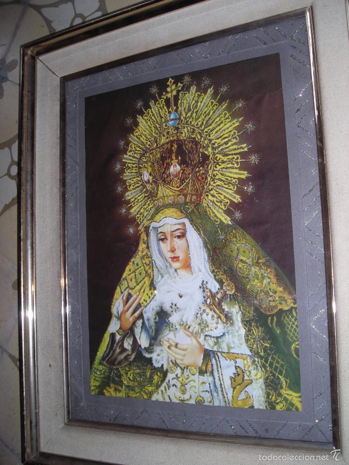 Arte: CUADRO RELIGIOSO VIRGEN DE SEVILLA, CON MARCO I CRISTAL CON ADORNOS - Foto 3 - 56464146