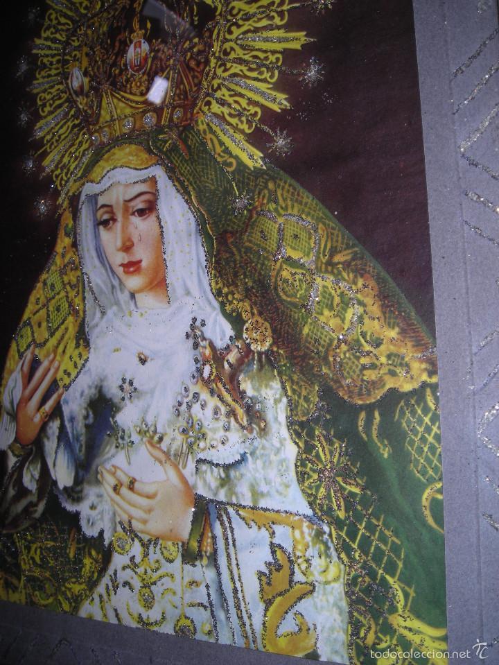 Arte: CUADRO RELIGIOSO VIRGEN DE SEVILLA, CON MARCO I CRISTAL CON ADORNOS - Foto 4 - 56464146