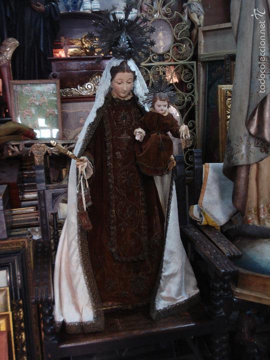 VIRGEN DEL CARMEN CAP I POTA SXIX TALLA VESTIDERA DE MADERA (Arte - Arte Religioso - Escultura)