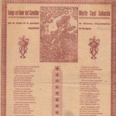 Arte: GOIGS EN LLAOR DEL CAVALLER MÀRTIR SANT SEBASTIÀ - ESCORNALBOU (ANGUERA, 1932). Lote 56649958