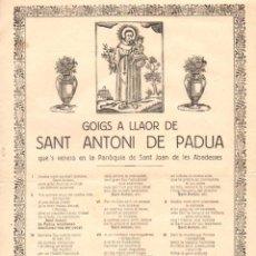 Arte: GOIGS A LLAOR SANT ANTONI DE PADUA DE SANT JOAN DE LES ABADESSES (LLORENÇ BONET, RIPOLL, 1927). Lote 56667972