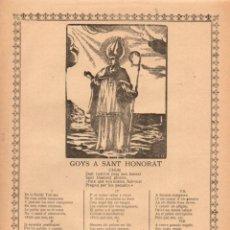 Arte: GOIGS GOYS A SAN HONORAT (IMP. GUASP, PALMA, 1913). Lote 56660131
