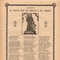 Arte: GOIGS GOZOS DEL SERÁFICO PADRE SAN FRANCISCO DE ASÍS, FUNDADOR (H. DE LA V. PLA, 1910). Lote 56660223