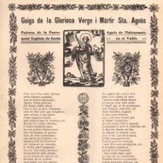 Arte: GOIGS DE LA GLORIOSA VERGE I MÀRTIR STA. AGNÉS EN MALENYANES (IMP. POLÍGLOTA, 1929). Lote 56668483