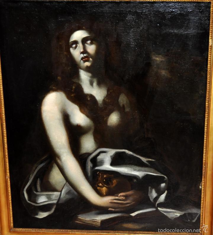 Arte: ESCUELA ITALIANA DE LA 2ª MITAD DEL SIGLO XVII. OLEO SOBRE TELA. MAGDALENA - Foto 2 - 56736971