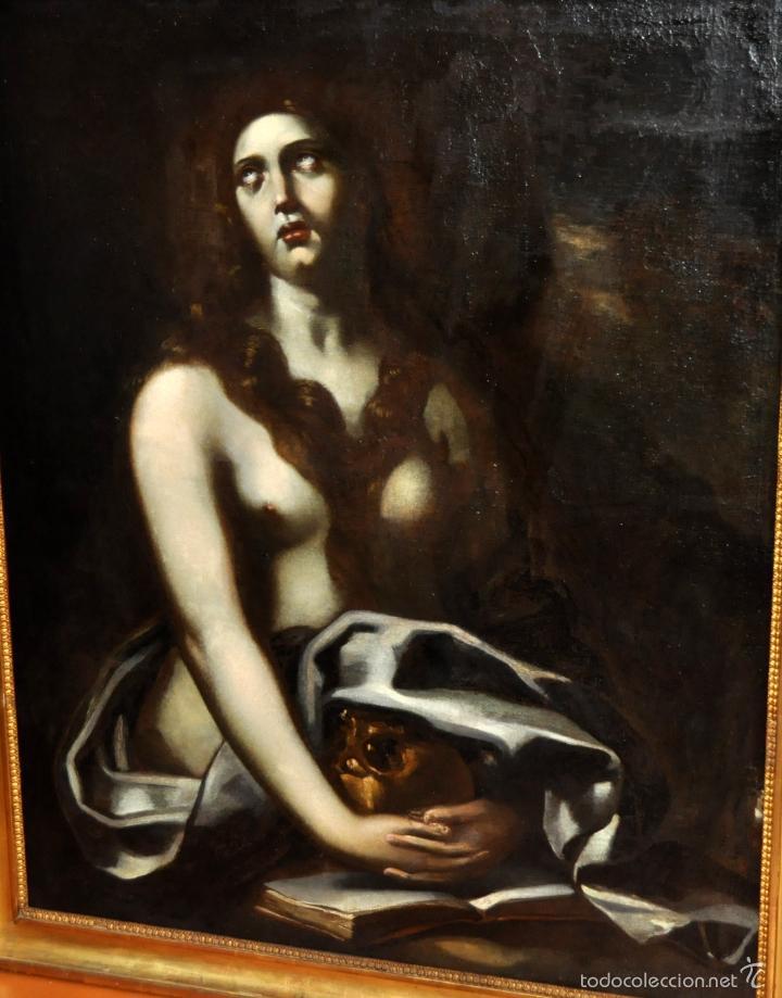 Arte: ESCUELA ITALIANA DE LA 2ª MITAD DEL SIGLO XVII. OLEO SOBRE TELA. MAGDALENA - Foto 6 - 56736971
