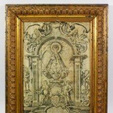 Arte: VIRGEN DE LA MILAGROSA, SEGOVIA, SOBRE SEDA, AÑO 1755. MARCO: 41X32 CM.. Lote 56756797