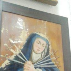 Arte: DOLOROSA CON LOS 7 PUÑALES, PINTURA SOBRE CRISTAL, S. XVIII. Lote 56798466
