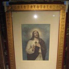 Arte: ANTIGUO MARCO CON LITOGRAFIA DE JESUS COLOREADA MEDIDA 121 X 86 CM. JESUS 54 X 39 CM.. Lote 56835323