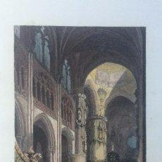 Arte: GRABADO VISTA INTERIOR DE LA CATEDRAL DE BURGOS. Lote 56878184