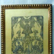 Arte: GRABADO SOBRE SEDA DE NUESTRA SEÑORA DEL CAMINO FINALES S. XVIII. Lote 56893911