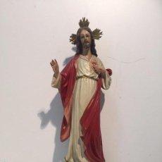 Arte: PRECIOSO SAGRADO CORAZON, ARTE CRISTIANO OLOT, ANTIGUO.35CM.. Lote 56918552