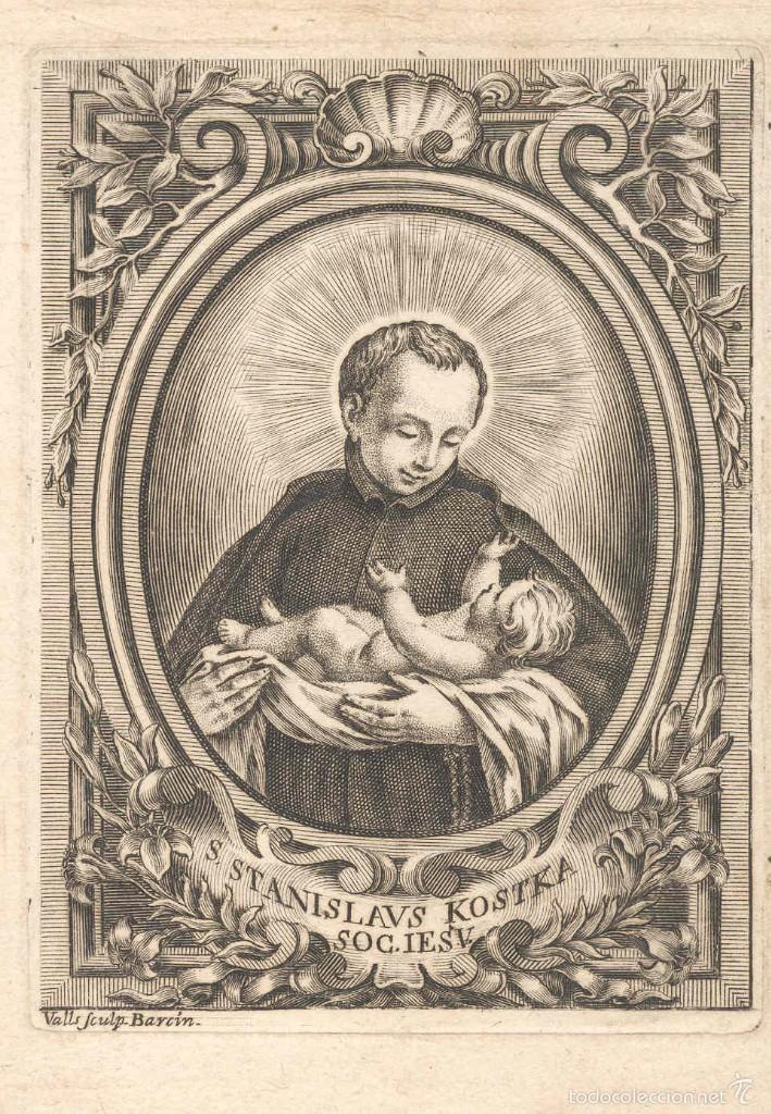 GRABADO DE S. STANISLAVS KOSTKA SOG. IESV. (BARCELONA SIGLO XVIII) GRABADOR IGNACIO VALLS, CATALUNYA (Arte - Arte Religioso - Grabados)