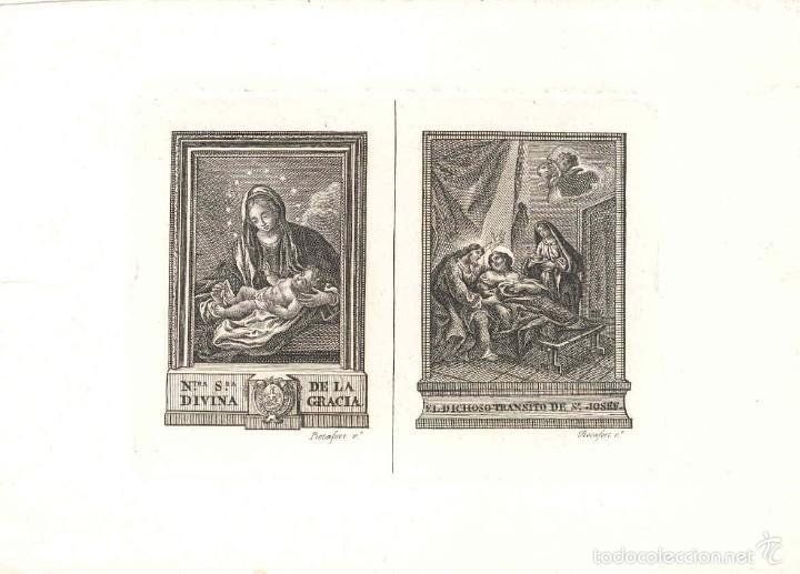 GRABADO NTRA. SRA. DE LA DIVINA GRACIA, DICHOSO TRÁNSITO DE SAN JOSÉ, AUTOR TOMAS ROCAFORT, VALENCIA (Arte - Arte Religioso - Grabados)
