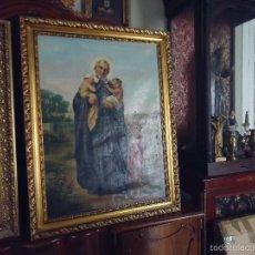 Arte: FIRMADO AÑO 1889 PINTURA FRANCESA RELIGIOSA OLEO SAN VICENTE DE PAUL GRAN MARCO DORADO - 100 X 77 CM. Lote 173414897