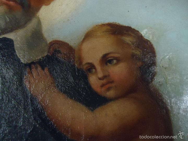 Arte: firmado año 1889 pintura francesa religiosa oleo san vicente de paul gran marco dorado - 100 x 77 cm - Foto 3 - 173414897