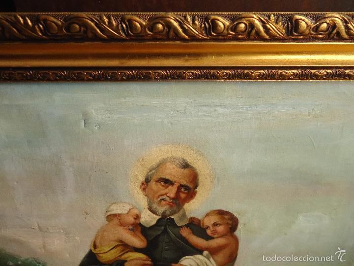 Arte: firmado año 1889 pintura francesa religiosa oleo san vicente de paul gran marco dorado - 100 x 77 cm - Foto 4 - 173414897