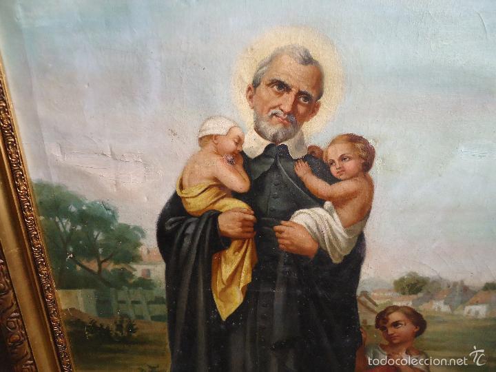 Arte: firmado año 1889 pintura francesa religiosa oleo san vicente de paul gran marco dorado - 100 x 77 cm - Foto 5 - 173414897