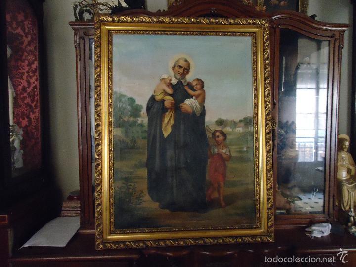 Arte: firmado año 1889 pintura francesa religiosa oleo san vicente de paul gran marco dorado - 100 x 77 cm - Foto 6 - 173414897
