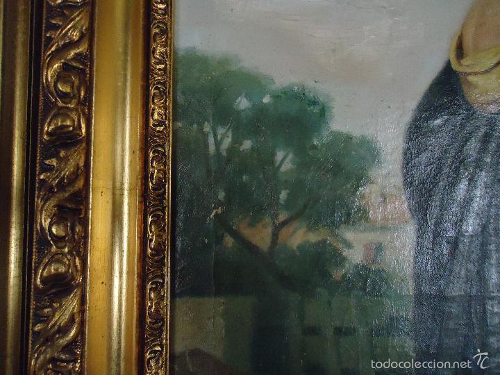 Arte: firmado año 1889 pintura francesa religiosa oleo san vicente de paul gran marco dorado - 100 x 77 cm - Foto 8 - 173414897