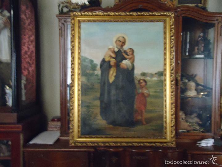 Arte: firmado año 1889 pintura francesa religiosa oleo san vicente de paul gran marco dorado - 100 x 77 cm - Foto 10 - 173414897