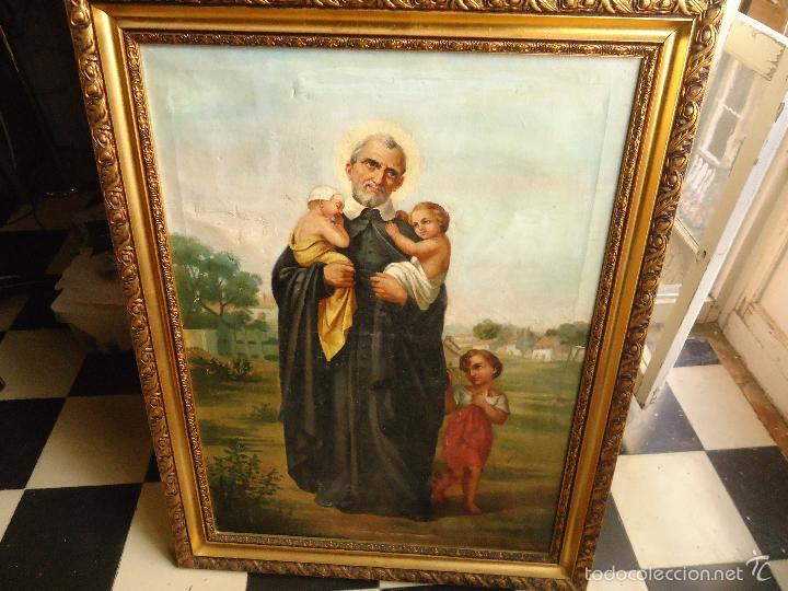 Arte: firmado año 1889 pintura francesa religiosa oleo san vicente de paul gran marco dorado - 100 x 77 cm - Foto 13 - 173414897