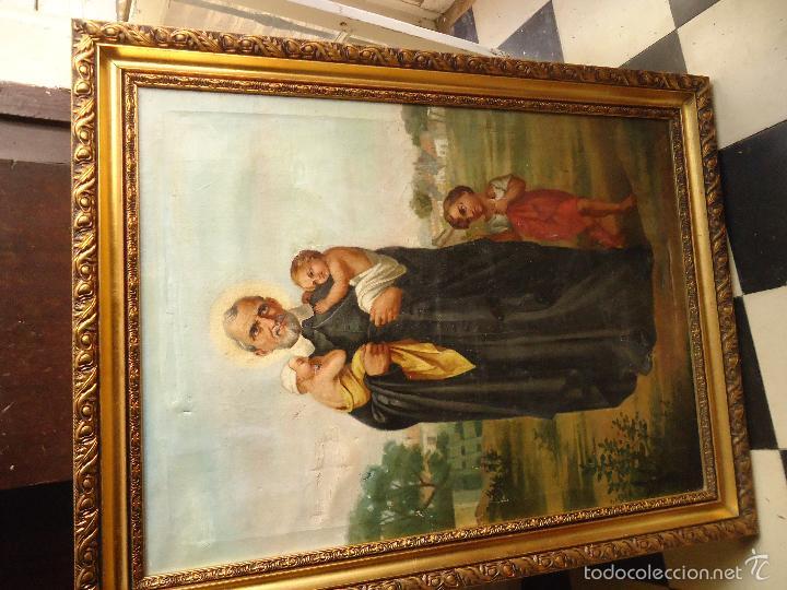 Arte: firmado año 1889 pintura francesa religiosa oleo san vicente de paul gran marco dorado - 100 x 77 cm - Foto 14 - 173414897