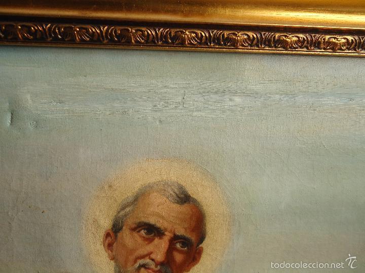 Arte: firmado año 1889 pintura francesa religiosa oleo san vicente de paul gran marco dorado - 100 x 77 cm - Foto 15 - 173414897