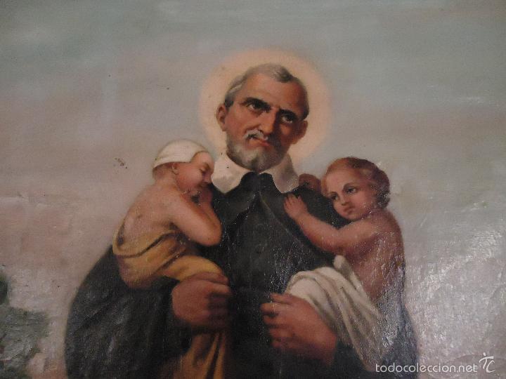 Arte: firmado año 1889 pintura francesa religiosa oleo san vicente de paul gran marco dorado - 100 x 77 cm - Foto 19 - 173414897