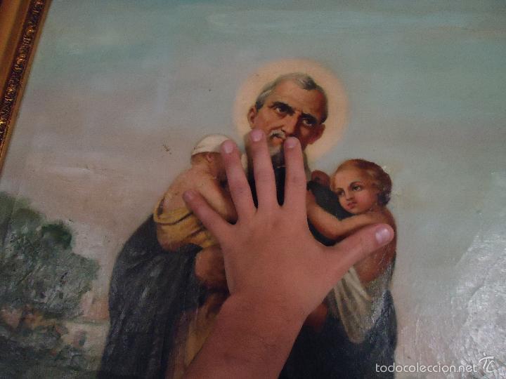 Arte: firmado año 1889 pintura francesa religiosa oleo san vicente de paul gran marco dorado - 100 x 77 cm - Foto 21 - 173414897