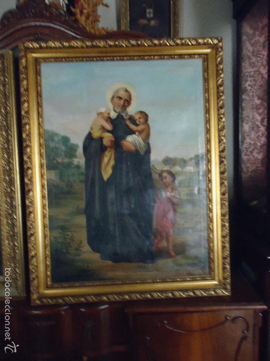 Arte: firmado año 1889 pintura francesa religiosa oleo san vicente de paul gran marco dorado - 100 x 77 cm - Foto 22 - 173414897