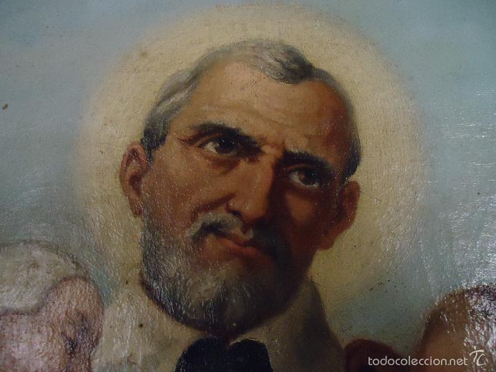 Arte: firmado año 1889 pintura francesa religiosa oleo san vicente de paul gran marco dorado - 100 x 77 cm - Foto 23 - 173414897