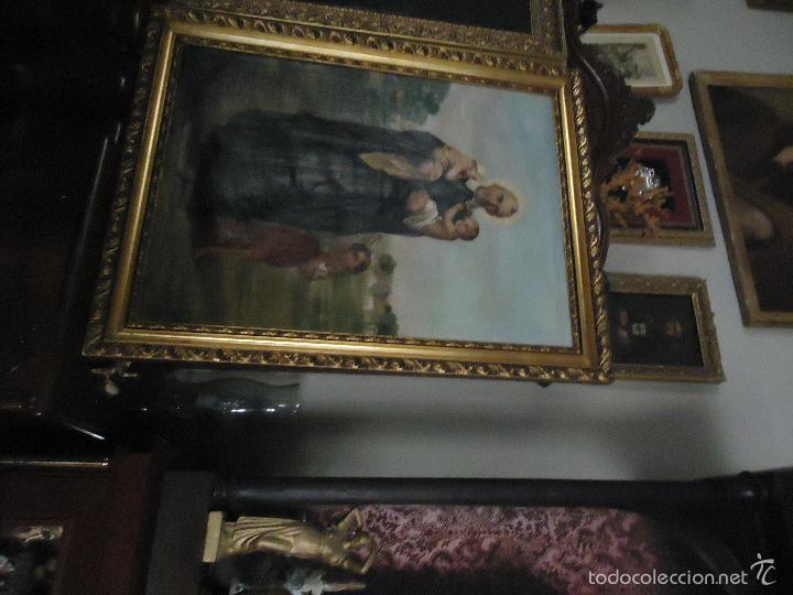 Arte: firmado año 1889 pintura francesa religiosa oleo san vicente de paul gran marco dorado - 100 x 77 cm - Foto 27 - 173414897